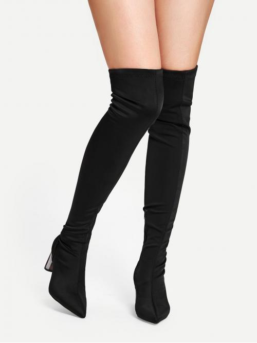 Ladies Corduroy Black Stretch Boots Lace up Thigh High Boots