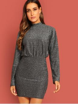 Glamorous Plain Stand Collar Long Sleeve Black Midi Length Mock-neck Glitter Dolman Dress