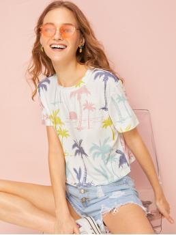 Casual Plants Regular Fit Round Neck Short Sleeve Pullovers Multicolor Crop Length Plants Print Tee