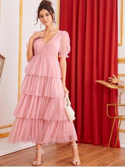 Romantic A Line Plain Layered/Tiered Deep V Neck Short Sleeve High Waist Pink Long Length Surplice Neck Puff Sleeve Tiered Layered Sequin Mesh Dress