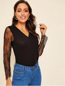 Casual Slim Fit V neck Long Sleeve Pullovers Black Regular Length Lace Sleeve Fitted Top