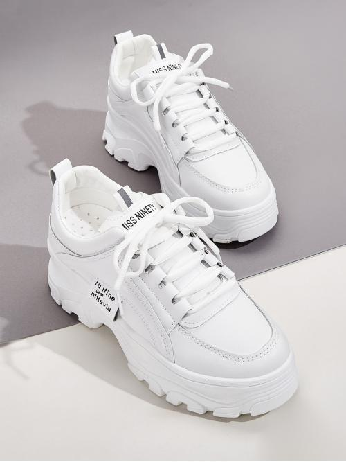 Comfort Round Toe White Lace-up Front Chunky Sneakers
