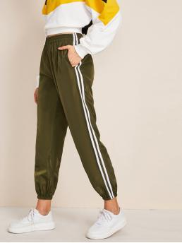 Sporty Striped Sweatpant Regular Elastic Waist High Waist Army Green Cropped Length Striped Side Pocket Windbreaker Carrot Pants