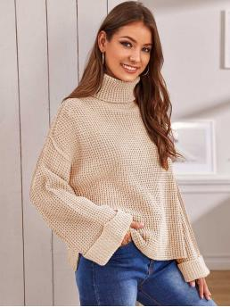 Casual Plain Slit Pullovers Oversized Funnel Neck Long Sleeve Regular Sleeve Pullovers Beige and Pastel Regular Length Rolled Neck and Cuff Waffle Knit Sweater