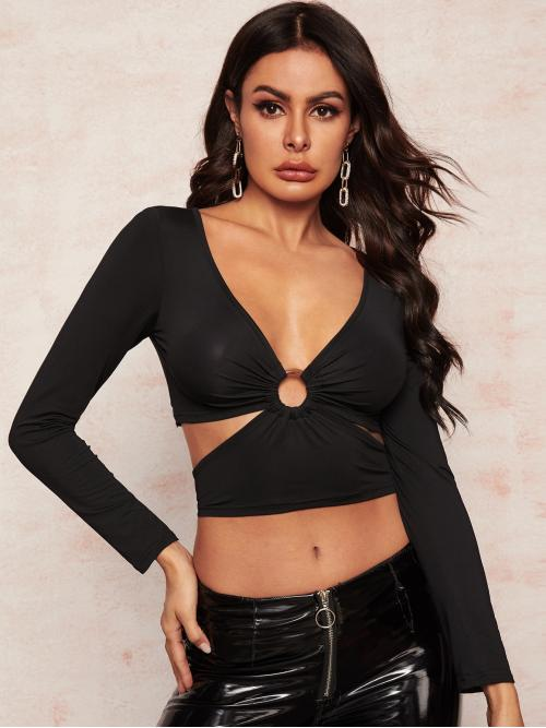 Sexy Plain Slim Fit Deep V Neck Long Sleeve Regular Sleeve Pullovers Black Crop Length O-ring Front Knot Back Tee