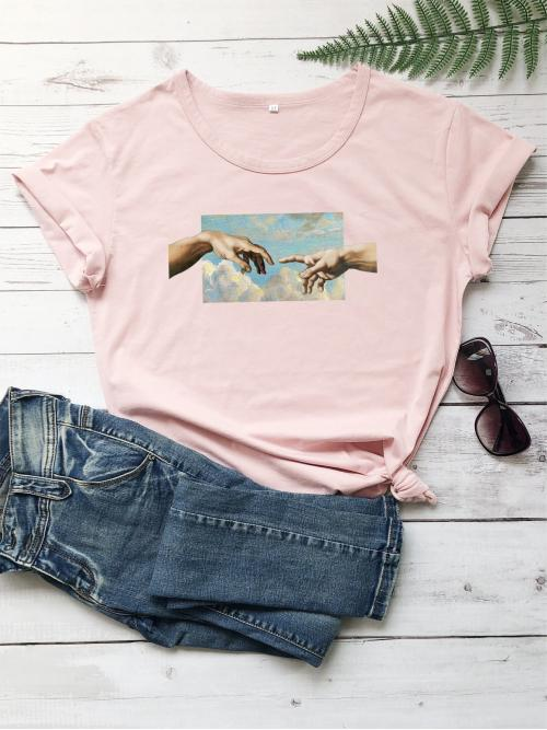 Casual Figure Regular Fit Round Neck Short Sleeve Regular Sleeve Pullovers Pink and Pastel Regular Length Round Neck Figure Graphic Tee