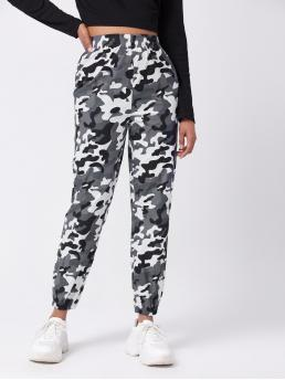 Multicolor High Waist Camo Regular Fit Tapered Pants Trending now