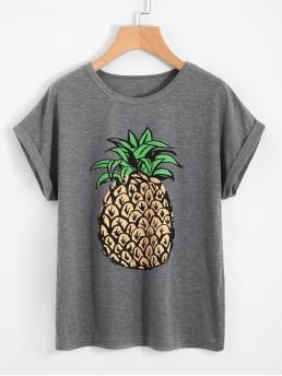 Casual Regular Fit Round Neck Short Sleeve Roll Up Sleeve Grey Pineapple Print Loose T-Shirt