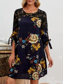 Womens Navy Blue Floral Knot Round Neck Emery Rose Cuff Dress