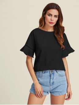 Casual Plain Top Regular Fit Round Neck Short Sleeve Flounce Sleeve Black Ladder Lace Insert Trumpet Sleeve Top