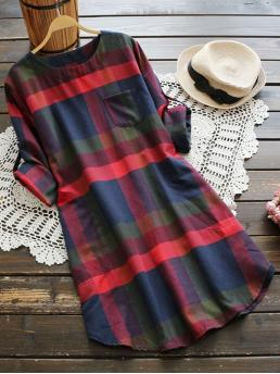 Multicolor Plaid Pocket Round Neck Rolled Sleeve Dress with Chest Beautiful