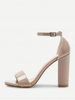 Ankle Strap Open Toe Plain Ankle Strap Apricot High Heel Chunky Two Part Block Heeled PU Sandals