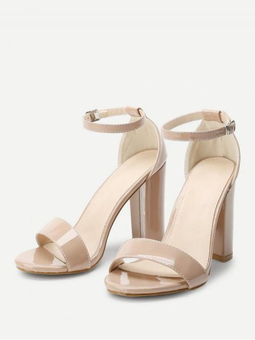 Beautiful Corduroy Apricot Strappy Sandals Cut out Two Part Block Heeled Pu Sandals