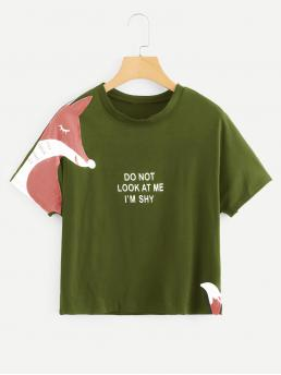 Casual Letter and Animal Regular Fit Round Neck Short Sleeve Raglan Sleeve Pullovers Army Green Regular Length Fox And Letter Print Tee
