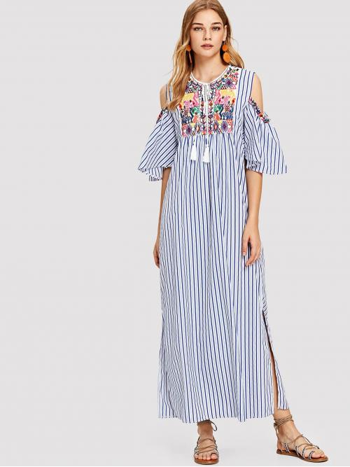 Boho Tunic Striped Shift Slit Round Neck Half Sleeve Multicolor Maxi Length Geo Embroidery Open Shoulder Striped Dress