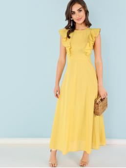 Elegant A Line Plain Flared Regular Fit Round Neck Cap Sleeve High Waist Yellow Maxi Length Ruffle Armhole Fit and Flare Dress