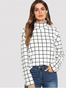 Long Sleeve Top Zipper Polyester High Neck Grid Print Blouse Beautiful