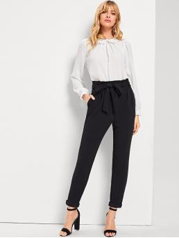Black Natural Waist Belted Plain Slant Pocket Waist Pants Ladies