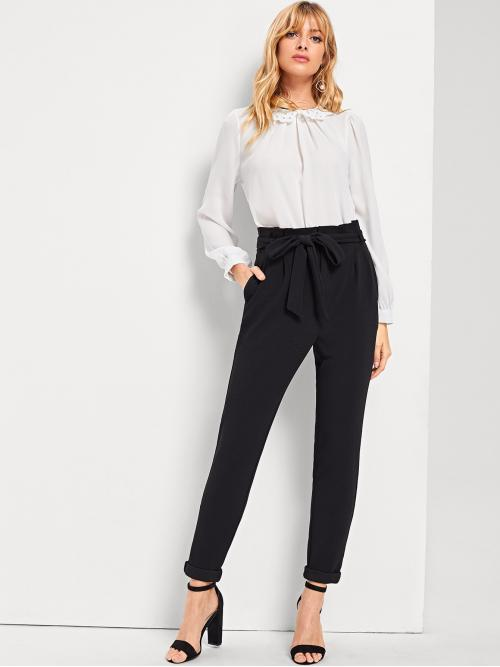 Casual Plain Tapered/Carrot Regular Zipper Fly Mid Waist Black Cropped Length Slant Pocket Waist Belted Pants with Belt