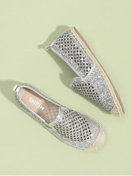 Corduroy Silver Ballet Knot Sequin Detail Cut-out Cap Toe Flats Affordable
