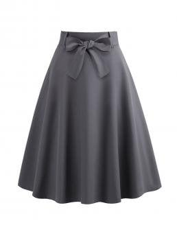 Elegant A Line Plain Mid Waist Grey Midi Length 50s Belted Flare Skirt with Belt