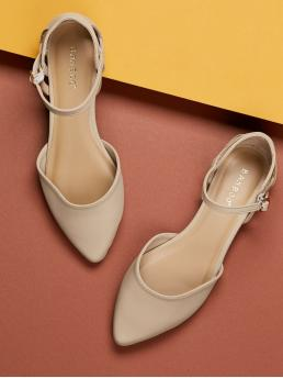 Comfort Point Toe Plain Ankle Strap Nude Cut Out Detail Pointy Toe Ankle Strap Ballet Flats