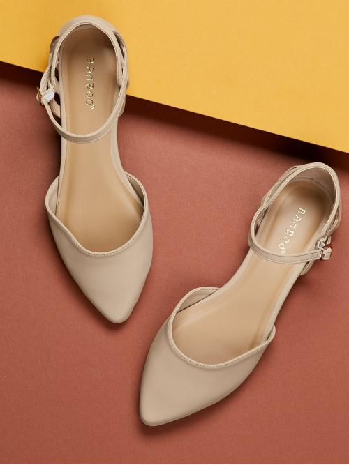 Detail Pointy Toe Ankle Strap Ballet Flats