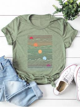 Casual Cartoon Regular Fit Round Neck Short Sleeve Pullovers Army Green Regular Length Sun Print Tee