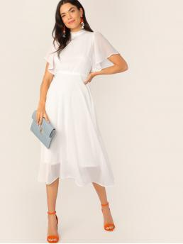 Elegant A Line Plain Regular Fit Stand Collar Short Sleeve Butterfly Sleeve High Waist White Long Length Flutter Sleeve Frill Trim Tie Back Solid Dress with Lining