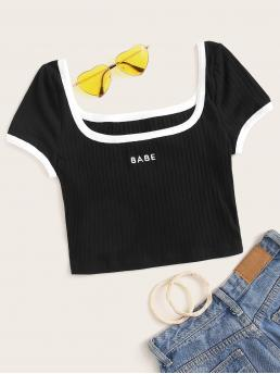 Sexy Letter Slim Fit Square Neck Cap Sleeve Pullovers Black Crop Length Square Neck Embroidery Letter Rib-knit Ringer Tee