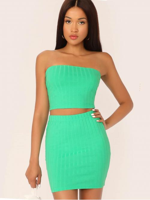 Sexy Plain Skinny Regular Fit Strapless Sleeveless Green and Bright Neon Green Rib-knit Bandeau Top & Fitted Skirt Set