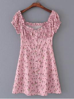 Boho A Line Ditsy Floral Square Neck Short Sleeve High Waist Pink Mini Length Ditsy Floral Shirred Dress
