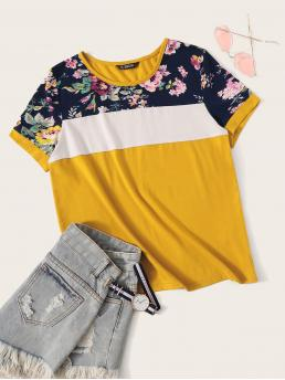 Casual Floral and Colorblock Regular Fit Round Neck Short Sleeve Pullovers Yellow and Bright Regular Length Cut-and-sew Floral Print Top