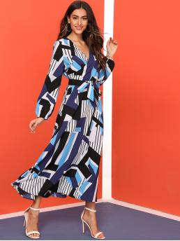Casual A Line Striped and Geometric Flared Regular Fit V neck Long Sleeve Bishop Sleeve High Waist Multicolor Maxi Length Geo Print Surplice Neck Belted Dress with Belt