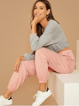 Sporty Plain Sweatpant Regular Elastic Waist High Waist Pink and Pastel Long Length Flap Pocket Detail Sweatpants