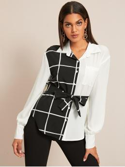 Casual Plaid Shirt Regular Fit Collar Long Sleeve Regular Sleeve Placket Black and White Regular Length Two Tone Plaid Button Front Belted Blouse with Belt