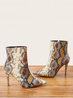 Affordable Multicolor Classic Boots High Heel Stiletto Snakeskin Heeled Boots