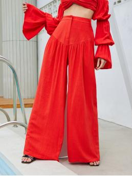 Bright High Waist Zipper Wide Leg Neon Red Pants Sale