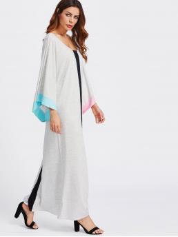 Modest Tunic Colorblock Slit Loose Scoop Neck Long Sleeve Natural Grey Maxi Length Contrast Panel Kimono Sleeve Full Length Dress