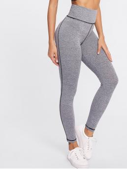 Sporty Regular Plain Grey Cropped Length High Waist Marled Knit Leggings
