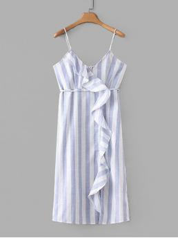 Boho Cami Striped V neck Sleeveless Natural Blue Long Length Ruffle Panel Self Tie Striped Cami Dress with Belt