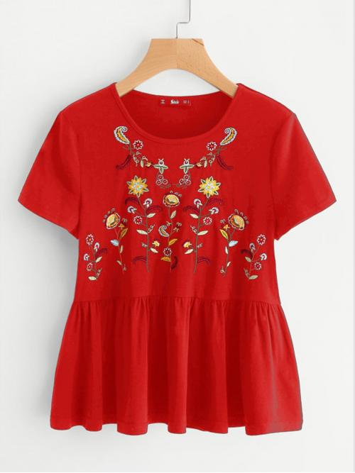 Beautiful Short Sleeve Top Embroidery Polyester Flower Ruffle Hem Tee