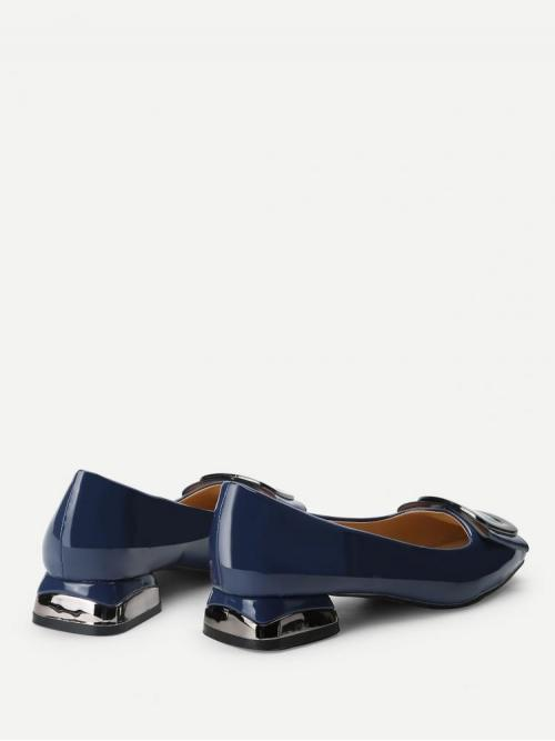 Affordable Corduroy Navy Blue Mules Pearls Patent Leather Ballerina Shoes