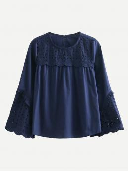 Plain Top Regular Fit Round Neck Long Sleeve Flounce Sleeve Pullovers Navy Eyelet Embroidered Frill Trim Blouse