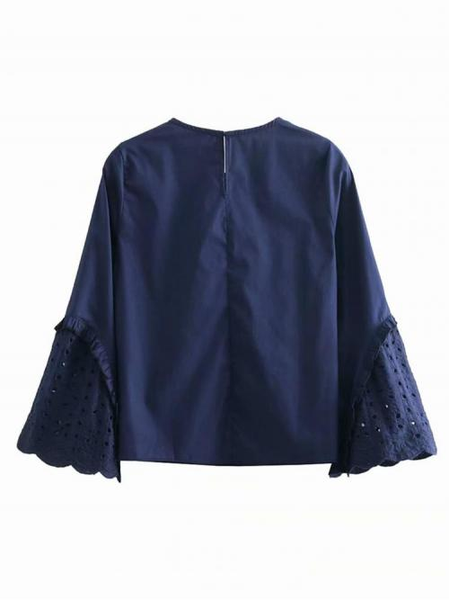 Shopping Long Sleeve Top Frill Polyester Eyelet Embroidered Trim Blouse