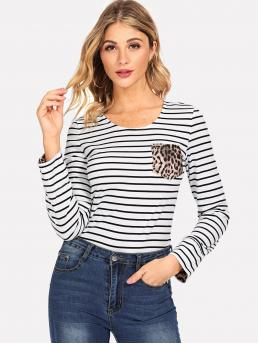 Casual Striped and Leopard Regular Fit Round Neck Long Sleeve Pullovers Black and White Regular Length Leopard Print Pocket Striped Tee