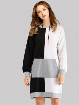 Multicolor Colorblock Drawstring Hooded Color-block Clearance