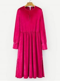 Plain Shift Cut Out Straight Round Neck Long Sleeve Natural Hot Pink Long Length Keyhole Back Velvet Solid Dress