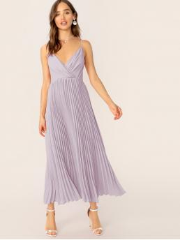 Romantic Cami Plain Pleated Regular Fit Deep V Neck and Spaghetti Strap Sleeveless High Waist Purple and Pastel Long Length Wrap Front Pleated Cami Dress