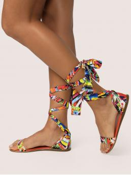 Gladiator Sandals Tropical Strappy Multicolor Leaf Print Lace Up Ankle Open Toe Sandals